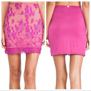For Love and Lemons Flower Bomb slip skirt lace